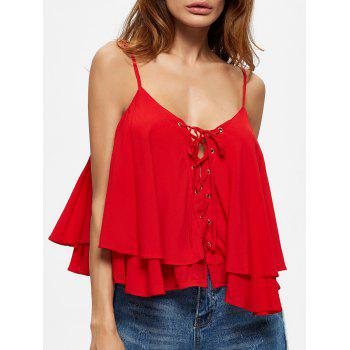 Layered Lace Up Flounced Cami Top