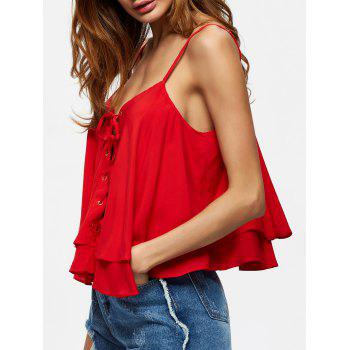 Layered Lace Up Volants Cami Top - Rouge XL
