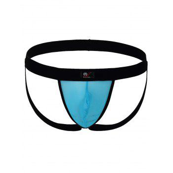 Elastic String Convex Pouch Voile Panel Thong - AZURE M