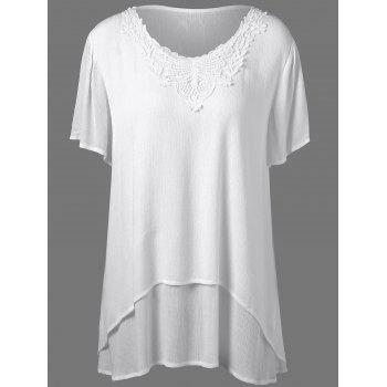 Plus Size Lace Insert Blouse