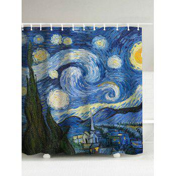 Waterproof Oil Painting Starry Sky Shower Curtain