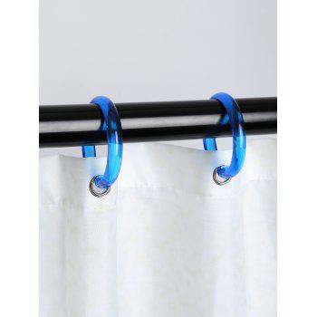 12 Pcs Plastic Round Shower Curtain Hooks - BLUE