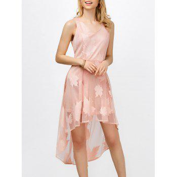 Sleeveless Maple Leaf High Low Hem Dress