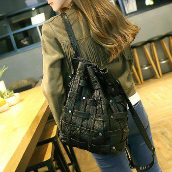 Casual Weaving Faux Leather Backpack - BLACK
