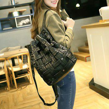Casual Weaving Faux Leather Backpack