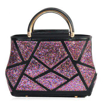 Sequin Panel Faux Leather Handbag