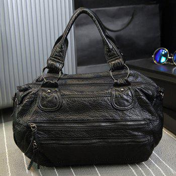 Casual Faux Leather Multi Zips Handbag