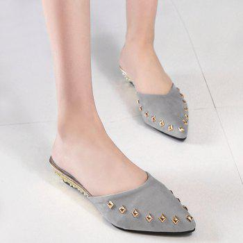 Wedge Heel Metal Rivets Slippers