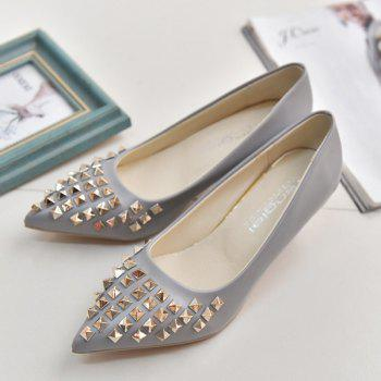 Metal Rivets Faux Leather Pumps