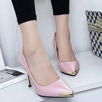 Faux Leather Metal Toe Pumps