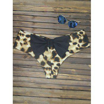 Bowknot Print Swim Briefs - LEOPARD GOLD COLOR LENS LEOPARD GOLD COLOR LENS