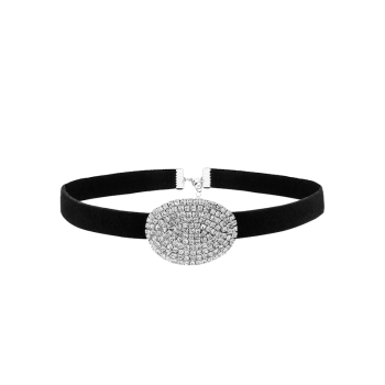 Oval Rhinestone Faux Suede Choker Necklace