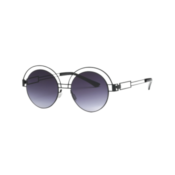 Hollow Out Leg Metal Round Sunglasses