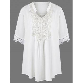 Plus Size Split-Neck Lace Trim Blouse