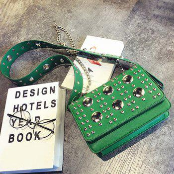 Punk Rivet Wide Strap Crossbody Bag