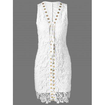 Fitted Knee Length Lace Up Crochet Wedding Guest Dress