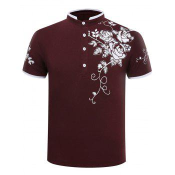 Floral Stand Collar Polo Shirt