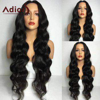 Adiors Middle Part Long Wavy Synthetic Wig - BLACK BLACK