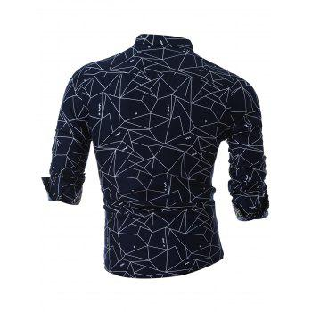 Long Sleeve Geometric Printed Shirt - CADETBLUE CADETBLUE