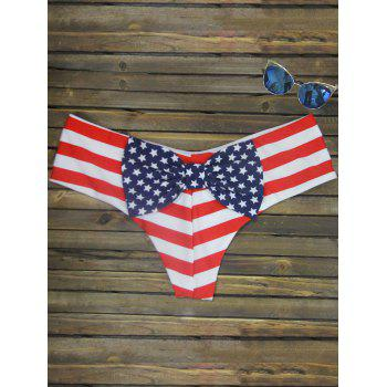 Bowknot Print Swim Briefs - STRIPE PATTERN RED COLOR STRIPE PATTERN RED COLOR