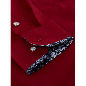 Long Sleeve Chest Pocket Shirt - WINE RED WINE RED