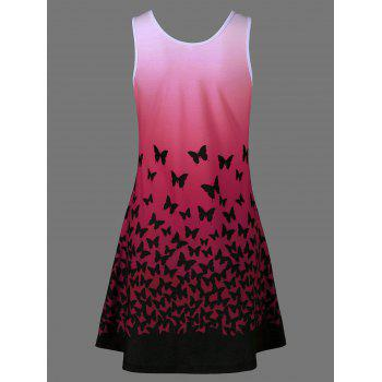 Butterfly Print Ombre Plus Size Trapeze Dress - RED RED
