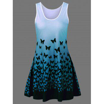 Butterfly Print Ombre Plus Size Trapeze Dress - BLUE GREEN BLUE GREEN