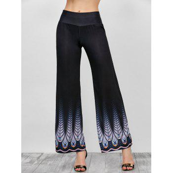 Printed High Rise Wide Leg Pants - BLACK 2XL