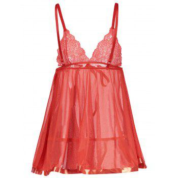 Lace Insert Cami See Thru Babydoll - RED M