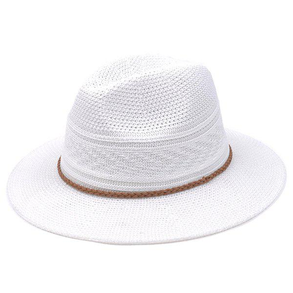 Braided Rope Breathable Straw Jazz Hat - WHITE