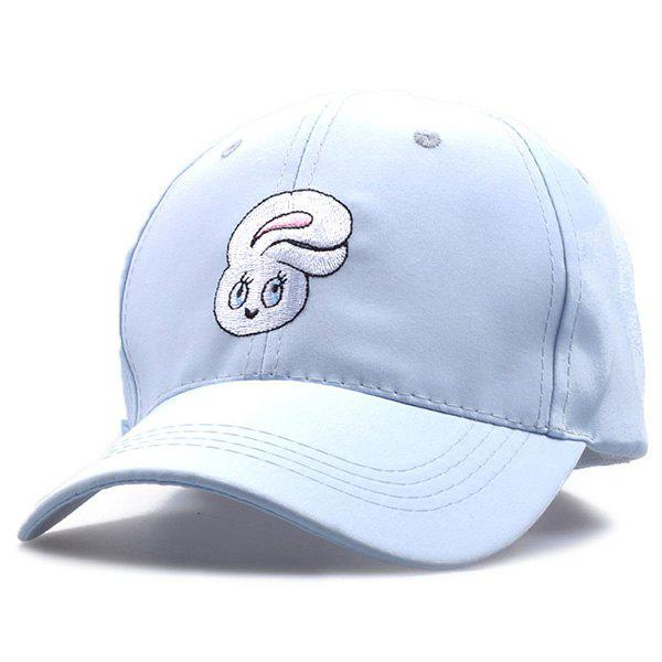 Little Rabbit Embroideried Long Tail Baseball Hat - LIGHT BLUE