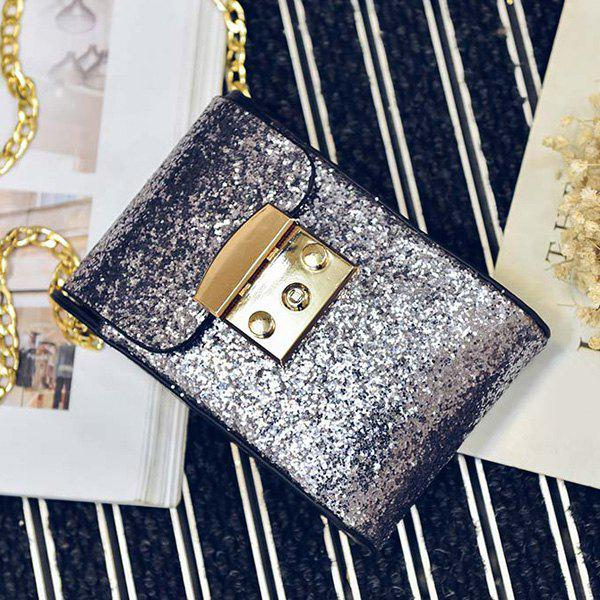 Sequin Chains Cross Body Bag - SILVER