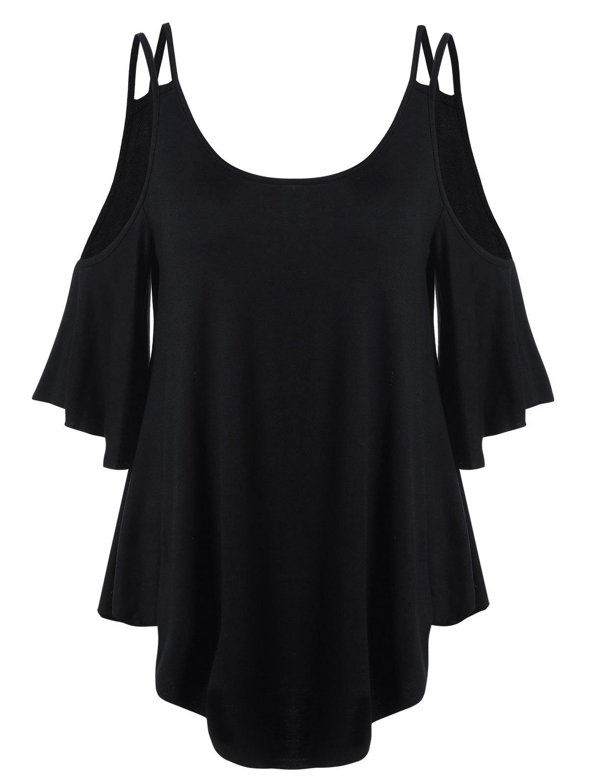 Dew Shoulder Flare Sleeve T-Shirt - BLACK XL