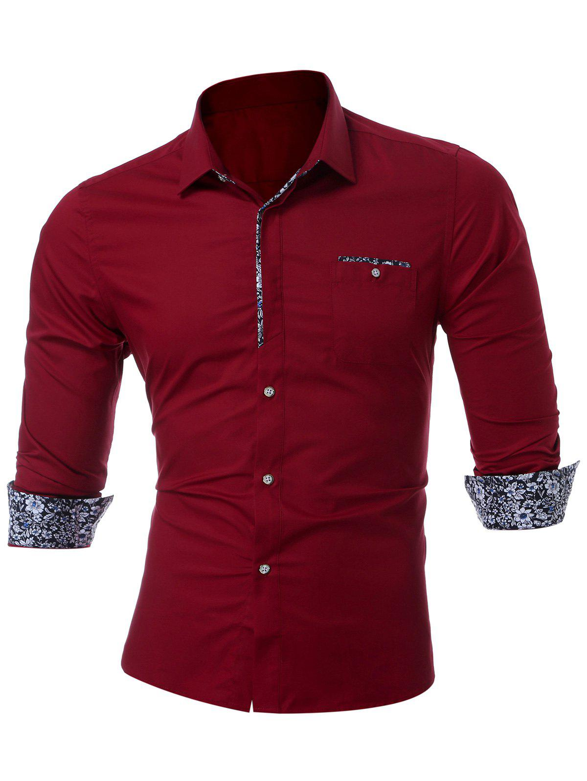 Long Sleeve Chest Pocket Shirt - WINE RED M