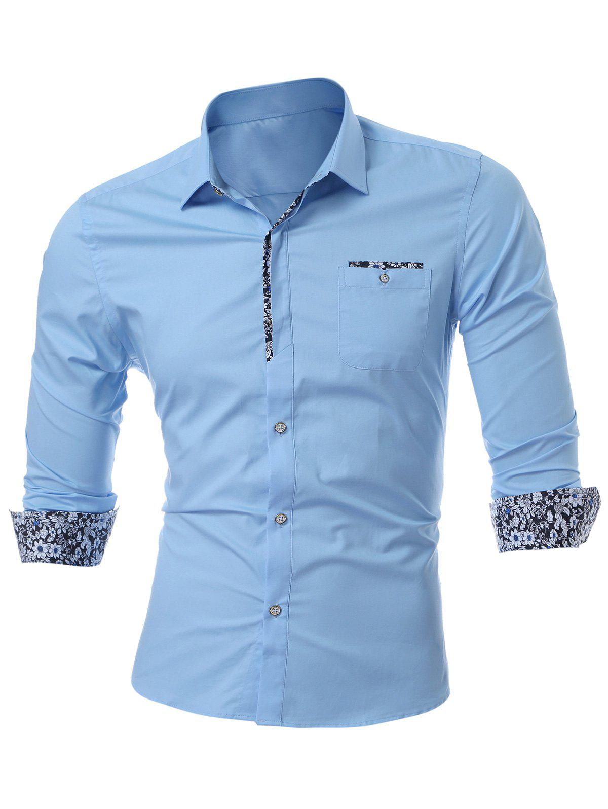 Long Sleeve Chest Pocket Shirt - LIGHT BLUE L