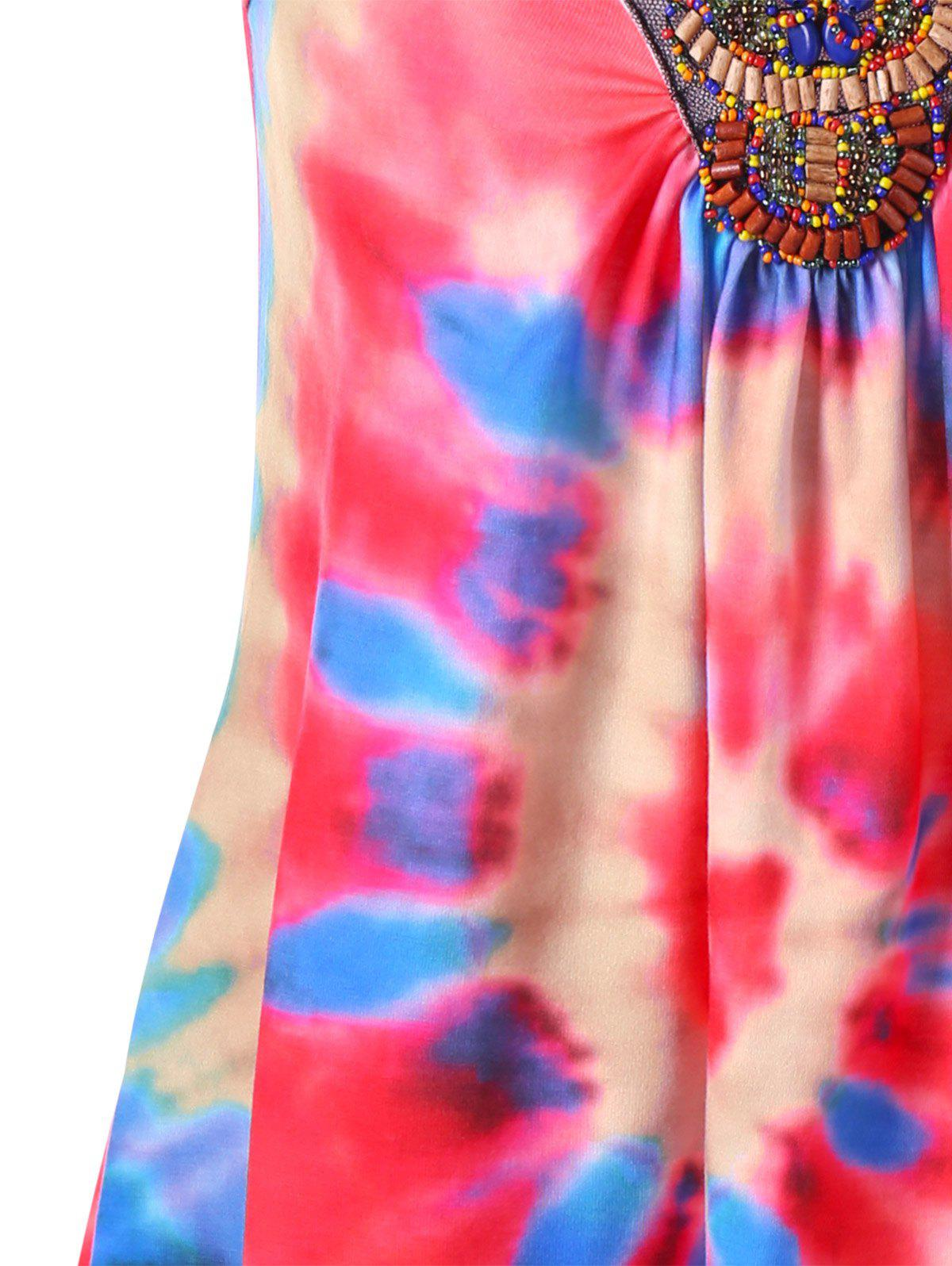 Tie Dye Asymmetrical Tank Top with Bead - COLORMIX M