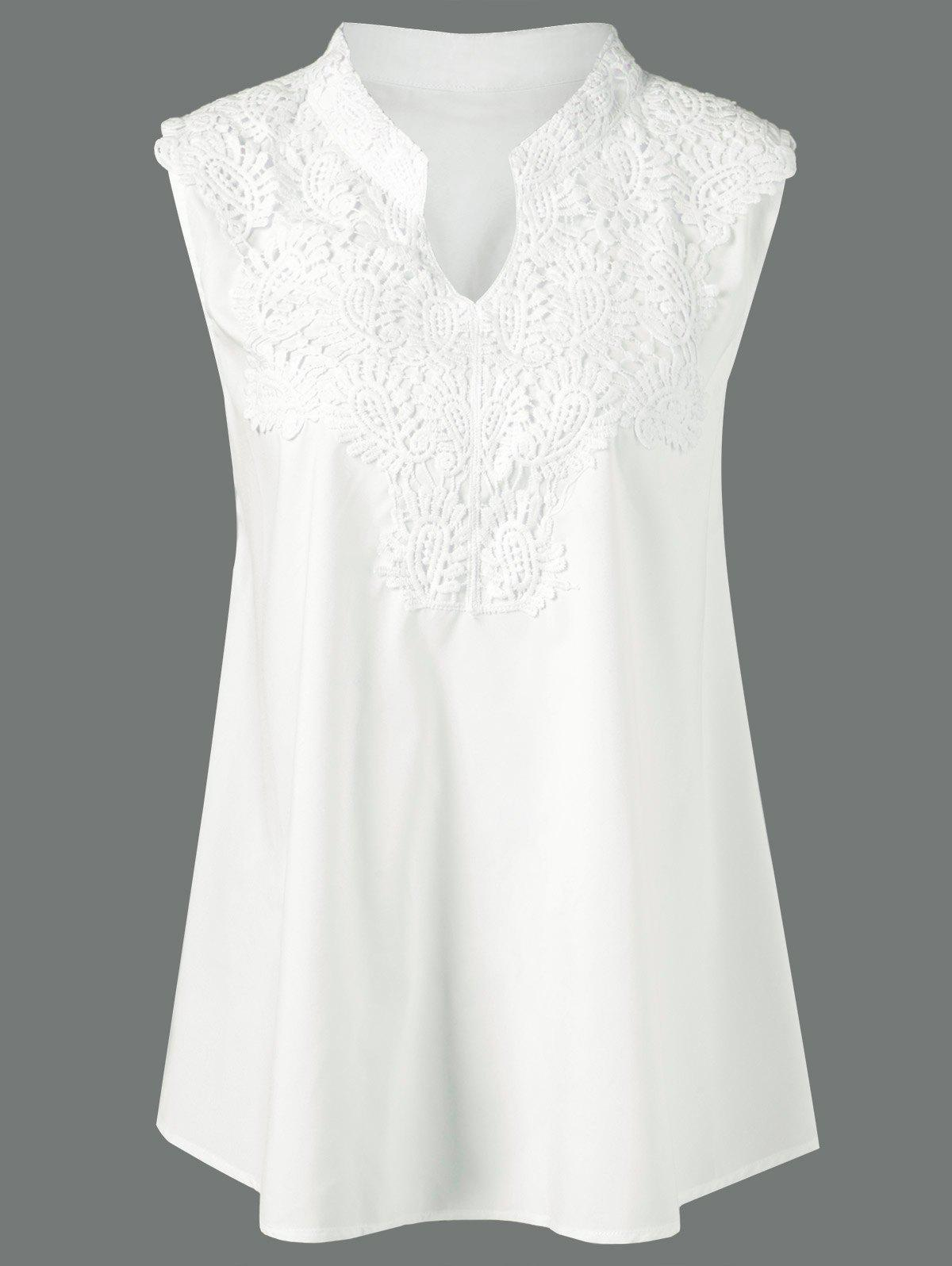Plus Size Lace Insert Crochet Tank Top, WHITE, XL in Plus Size T ...
