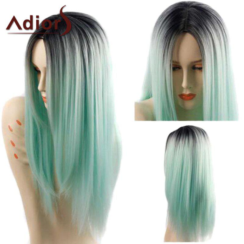 Adiors Long Straight Middle Parting Gradient Synthetic Wig - COLORMIX