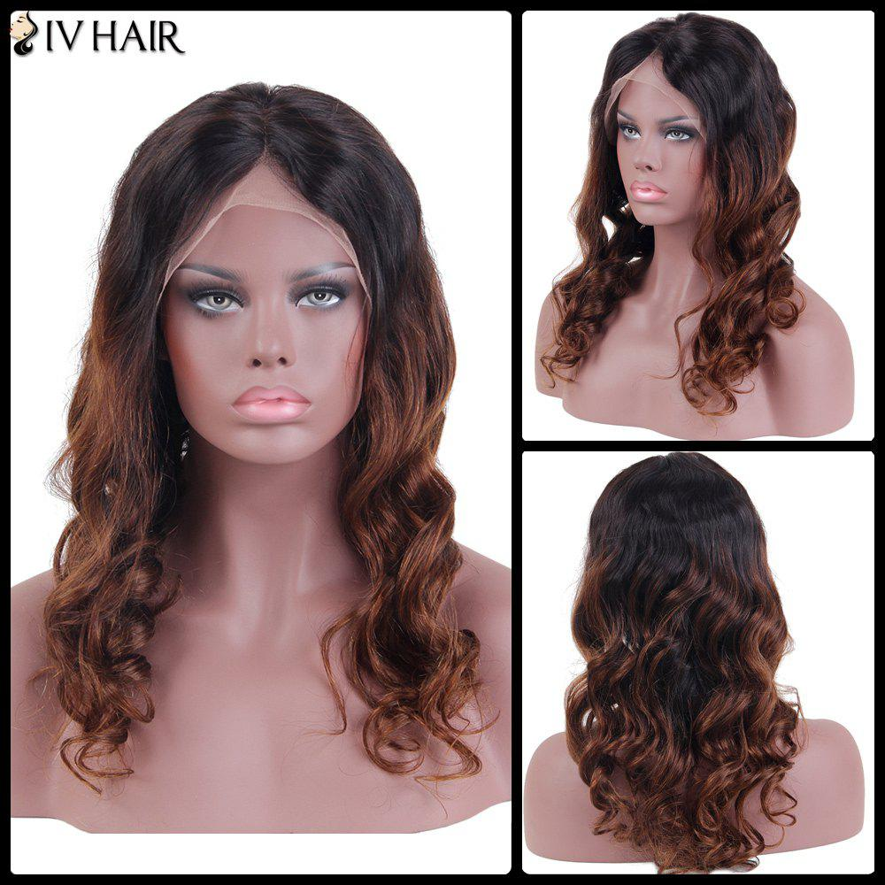 Siv Hair Long Wavy Centre Parting Lace Front Human Hair Wig - GRADUAL BROWN 14INCH