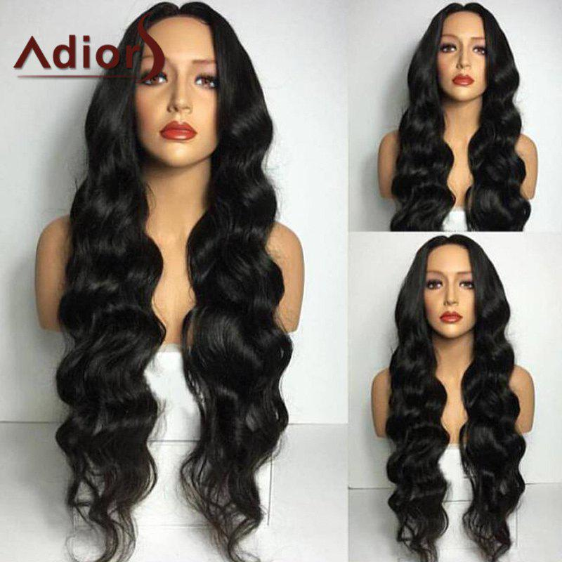Adiors Middle Part Long Wavy Synthetic Wig - BLACK