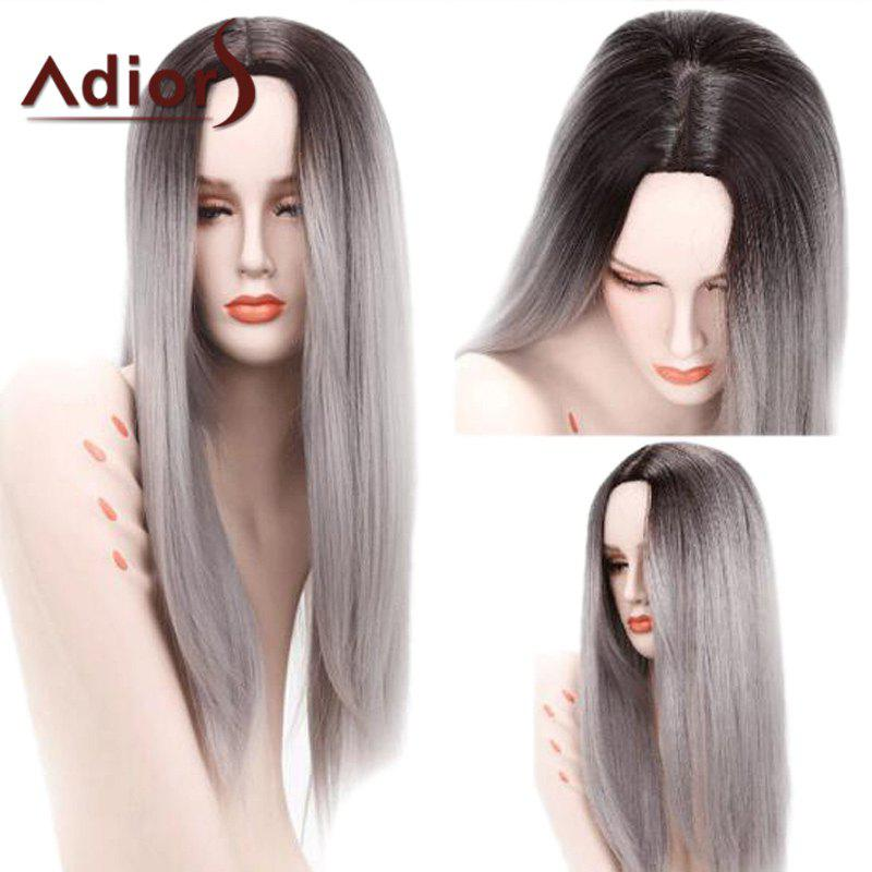 Adiors Long Ombre Middle Part Straight Synthetic Wig - COLORMIX