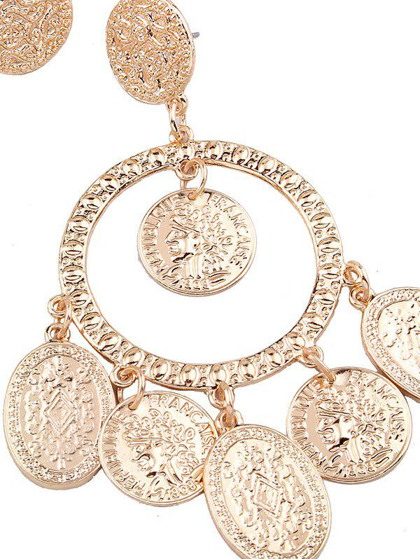 Hollow Out Plated Engraved Maxi Earrings - GOLDEN