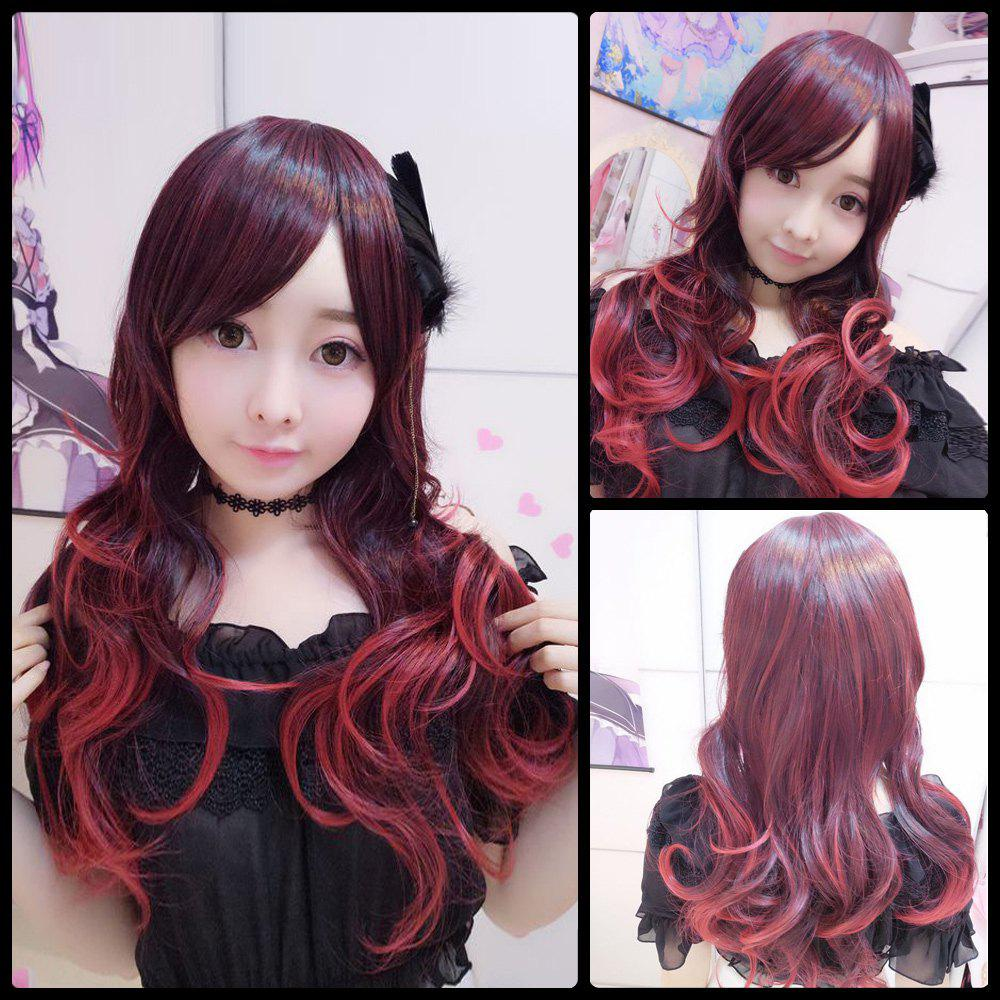 Harajuku Long Wavy Gradient Oblique Bang Cosplay Lolita Synthetic Wig - COLORMIX