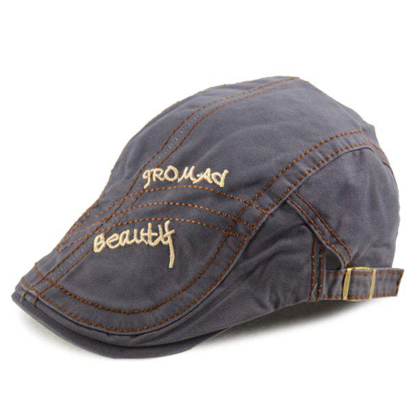Letters Embroidery Sewing Texture Cabbie Hat - GRAY ONE SIZE