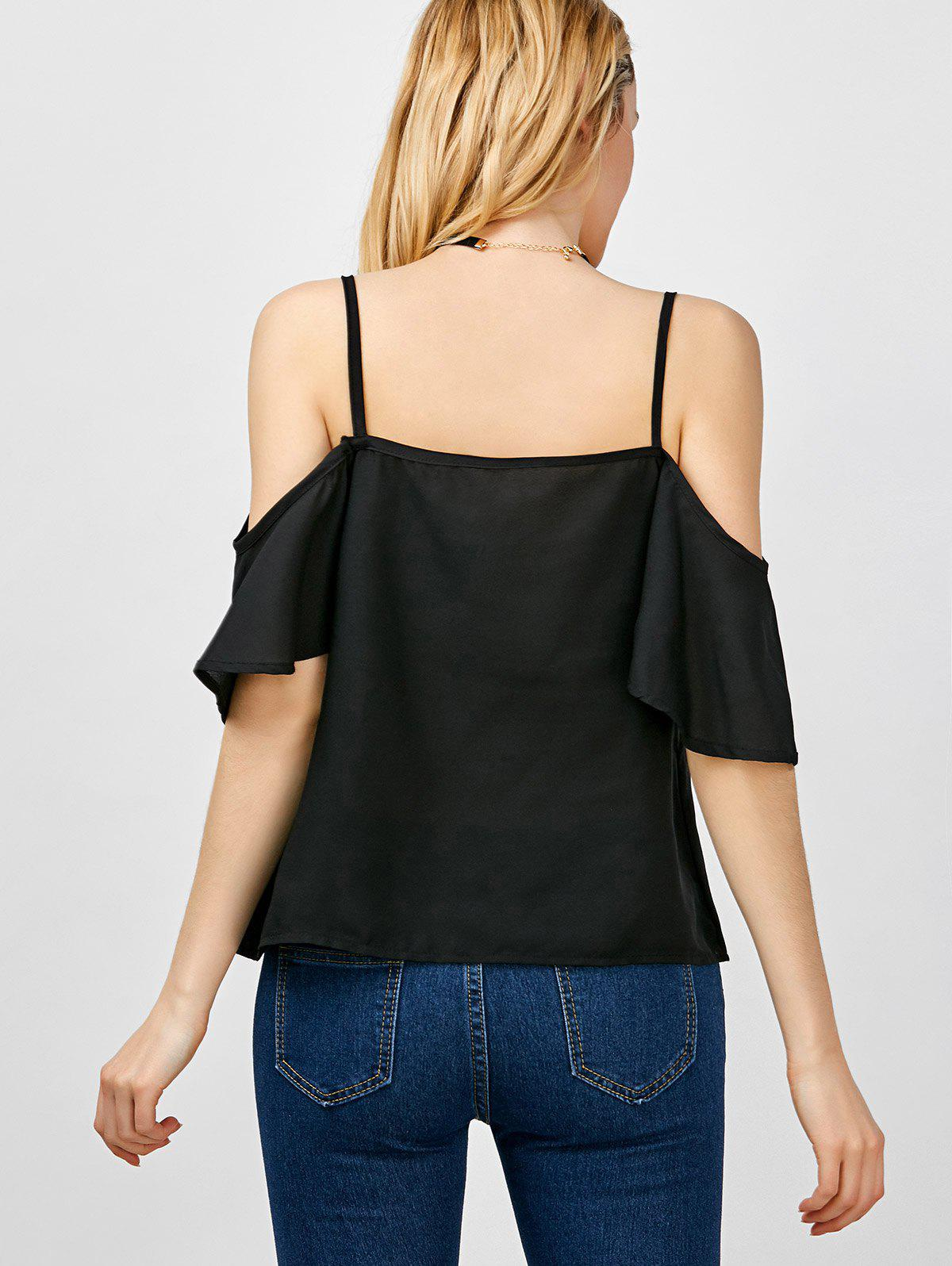 Cold Shoulder Spaghetti Strap Blouse - BLACK XL
