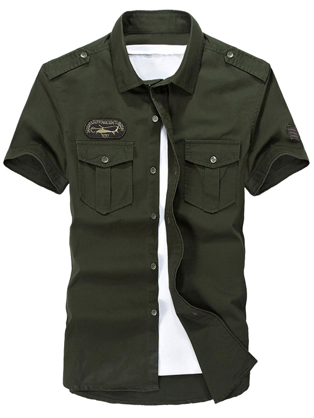 Short Sleeve Slim Fit Cargo Shirt - ARMY GREEN 2XL