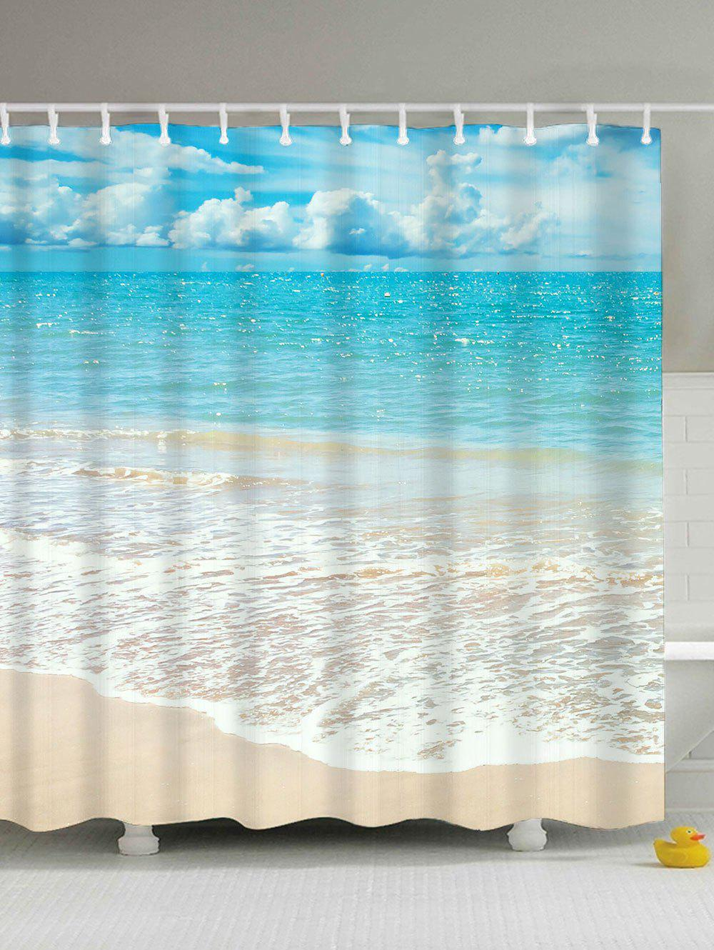 Beach Scenery Anti-bacteria Mouldproof Shower Curtain - LIGHT BLUE 180*180CM