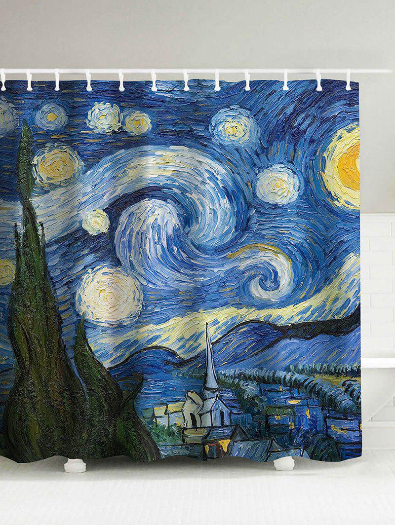 Waterproof Oil Painting Starry Sky Shower Curtain - BLUE 150*180CM