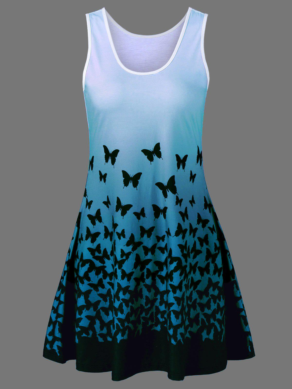 Butterfly Print Ombre Plus Size Trapeze Dress - BLUE GREEN XL