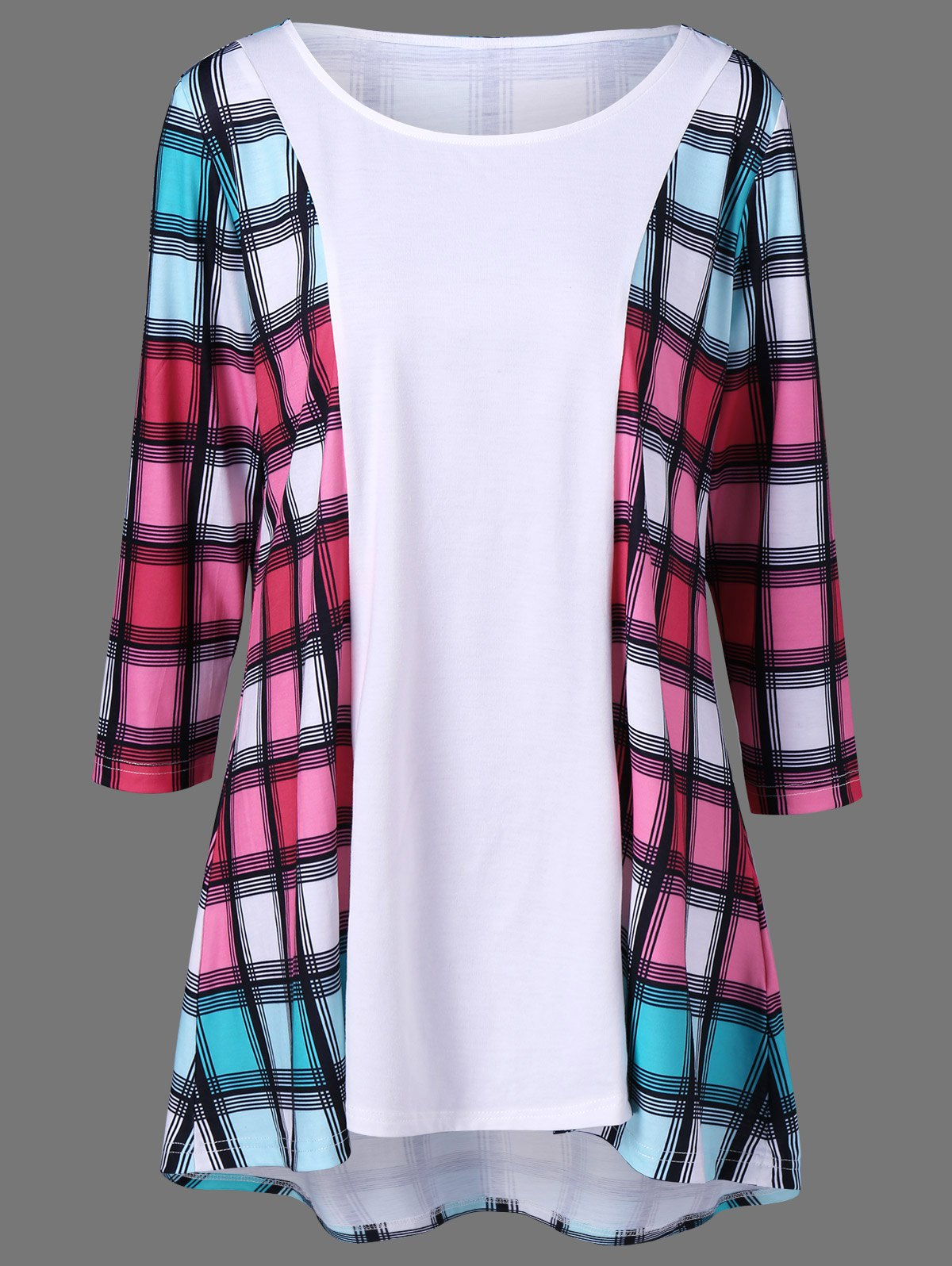 Plus Size Colored Plaid Tunic T-Shirt